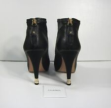 Chanel Black Leather Boots with Gold Tip Heel 38,5 $1520