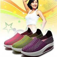 Women Casual Weave Walking Running Sneakers Slip On Sport Trainer Platform Shoes