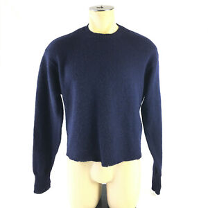 Pendleton Crew Neck Pullover Sweater Washable Wool Navy Blue Mens Med