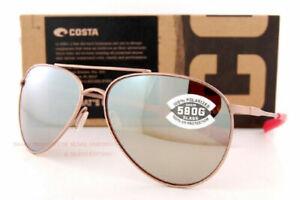 New Costa Del Mar Sunglasses PIPER Satin Rose Gold Copper Silver Mirror 580G