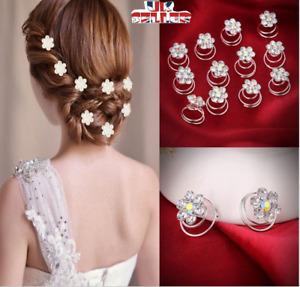 12pcs Bridal Wedding Crystal Hair Twists Swirls Pins Spirals Pearl Flower UK