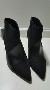 ZARA FAUX LEATHER SUEDE BLACK ANKLE BOOTS HEELS, Stunning 38 / 24.3cm $69.00