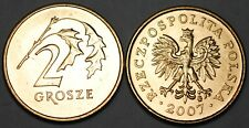 2007 Poland 2 Grosze Brass Coin BU Very Nice KM# 277