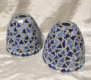 A Pair Of Handcrafted Multi Coloured Mosaic Decorated Glass Ceiling Light