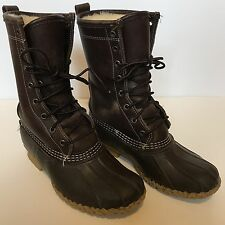 "LL Bean 10"" Shearling Lined Dark Brown Leather Rubber Duck Boots Womens 6 Fit 7"