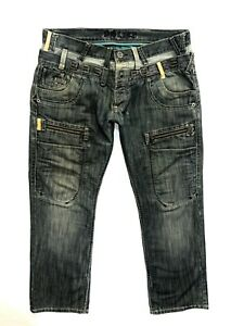 Mens * 883 POLICE  * Combat Faded denim  Jeans Size 38 L32 Good cond