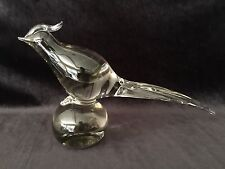 "Vintage Murano Italy Crystal Art Glass Pheasant Bird Statue Figurine, 14"" Long"
