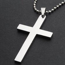 Fashion Unisex Men Titanium Cross Stainless Steel Pendant Necklace Chain Hot T