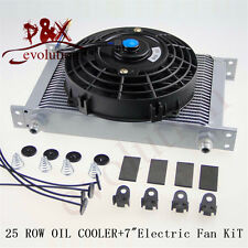"AN-8AN 25 Row Universal Engine Transmission Oil Cooler+7"" Electric Universal Fan"