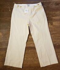 NTW Banana Republic sz12 Ivory Pinstriped Stretch Capri Pants