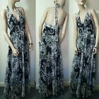 Phase Eight Black White 100% Silk Evening Maxi Dress Full Length Gown size 10