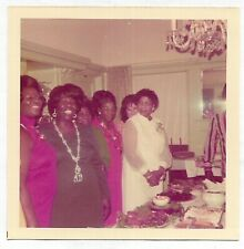 Square Vintage 70s PHOTO Black Women in Dressy Outfits around Dining Table Feast