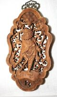 vintage carved wood Balinese figural wall relief reticulated sculpture plaque