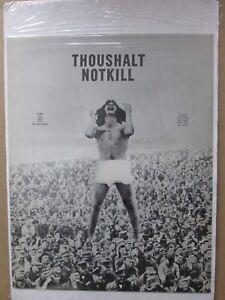Black /White Poster THOU SHALT NOT KILL Peace political WAR 1967 in#G1128