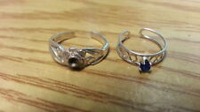 Beautiful Two New Flower Blue Toe Rings Ring 925 Sterling*Size Adjustable *F226
