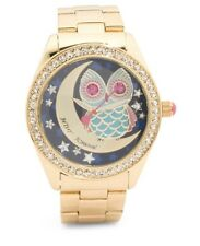 New Betsey Johnson Night Owl Crystal Bezel Gold Stainless Glitz Ladies Watch
