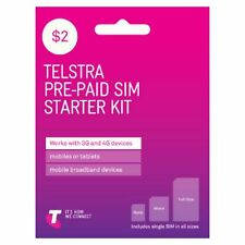50 x New Australian Telstra Prepaid Multi Fit Sim Card Pack 3G 4G Next G $2