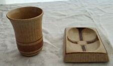 Pottery Craft Soap Dish and Cup Set Lot Brown