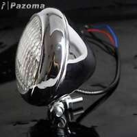 Retro Chrome Motorcycle Headlight Lamp For Triumph BSA Cafe Racer Bobber Chopper