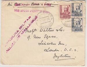 SPAIN 1938 military censor cover *MALLORCA-LONDON* with label via ROME/SARDINIA