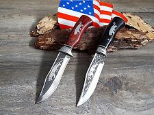 2 x MESSER JAGDMESSER BOWIE KNIFE HUNTING CUCHILLO COLTELLO BUSCHMESSER