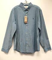 Original Penguin Men's Heritage Slim Fit Blue Solid Button Down Shirt Size XXL