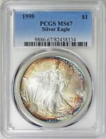 1995 $1 Silver Eagle PCGS MS67 ( Beautifully Toned ) ASE Coin Bullion