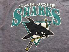 San Jose Sharks Women Large/XLARGE Vintage Hockey T-Shirt NHL Gray TOP TEE Lady