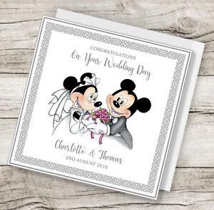 handmade personalised disney minnie & mickey wedding card