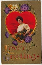 GLAMOUR - Love's Greetings - Embossed -  1911 used postcard
