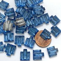 8 Vintage Stepped Stones Art Deco Blue Glass foil back Czech 12x10 Cabs (E)