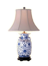 """Chinese Blue and White Porcelain Vase Floral Vine Motif Table Lamp 30"""""""