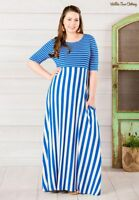 Matilda Jane The Road Ahead Maxi Dress blue white striped sz Small