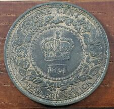 1861 Canada New Brunswick Large Cent 1 Penny Coin Canadian AU Lot F13
