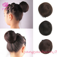 Clip On 100% Human Hair Drawstring Bun Scrunchie Chignon Updo Cover Extensions
