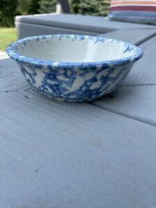 "Antique Blue And White  Spongeware Bowl Soup 5 1/2"" Stoneware Rare"