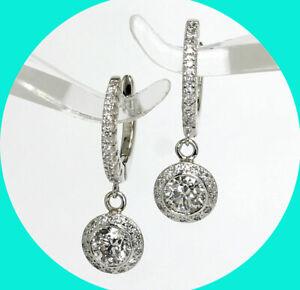 1.20CT H VVS VS diamond huggie hoop halo drop earrings 14K WG 48 round brilliant