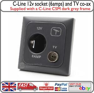 C-Line 12v Cigarette Type Socket w/ TV RF Coaxial Grey CBE Motorhome Caravan VW