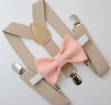 Kids Boys Mens Baby Tan Khaki Suspenders & Peach Bow Tie Infant - ADULT SET