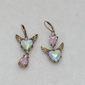 betsey johnson cute jewelry cut crystals heart shapes wings leverback earrings