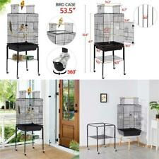 New listing 47-Inch Play Top Bird Cage Rolling Stand Black