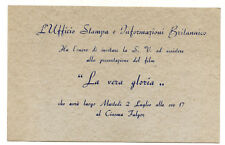 1945 INVITO DEL SERVIZIO D'INFORMAZIONI BRITANNICO PER VEDERE UN FILM DI GUERRA