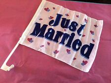 New just married large car flags set of 2 clip on flags 30cm x 40cm wedding car