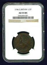 G.B./U.K/ENGLAND GEORGE II  1746 HALF-PENNY COPPER COIN CERTIFIED BY NGC AU55-BN