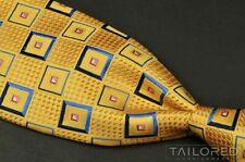 "ERMENEGILDO ZEGNA Recent Yellow Geometric 100% Silk Mens Luxury Tie - 3.75"""