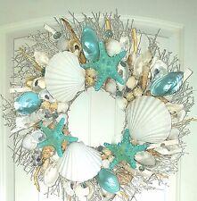 """21"""" Sea Shell Wreath on Birch Twig w/Blue  Star Fish & Highly Polished Clams"""