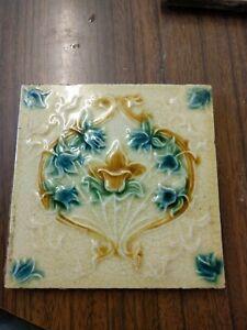 Antique Victorian molded  Majolica Tile Circa 1890's