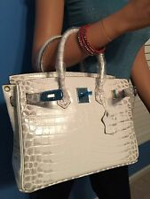 ADORABLE WHITE ALLIGATOR PRINT 35CM BIRKIN INSPIRED BAG TOTE PURSE (GHW)