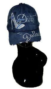 Dallas Football Diva  Black Fitted Adj. Cap ~ Shiny Lettering & Crystals.