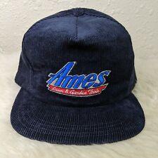 vtg Ames Lawn And Garden Logo Hat Corduroy Snapback Trucker Farmer Cap Blue